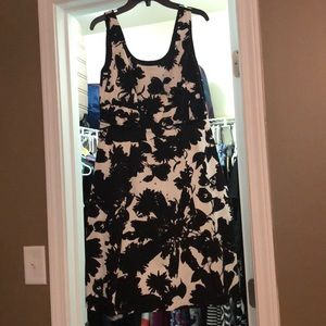 Black and white floral dress with pockets